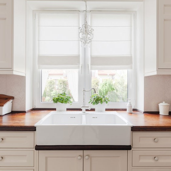 clean white sink in kitchen