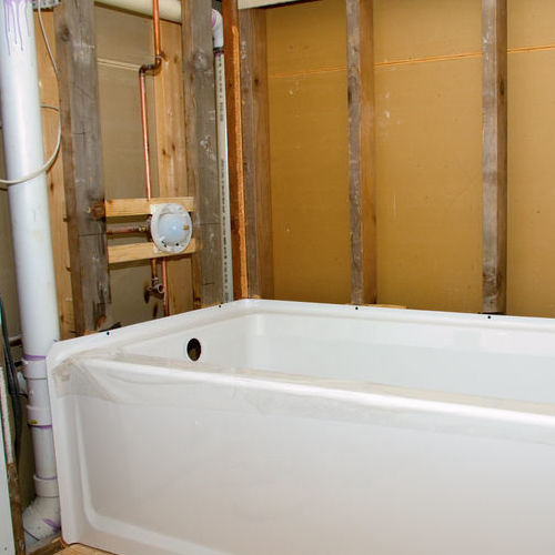 A Bathtub Being Installed For a Remodel.